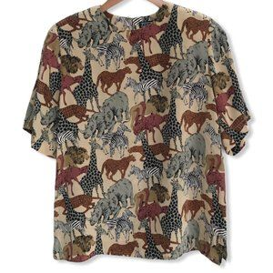 Vintage Safari Print Silk Blouse